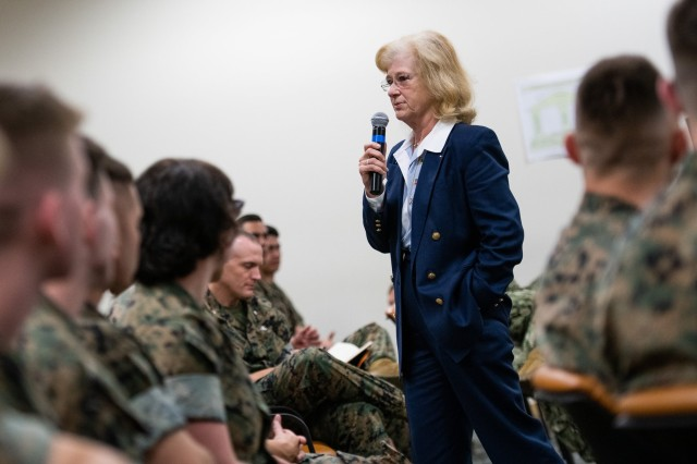President of the Naval Postgraduate School and retired Navy Vice Adm. Ann Rondeau speaks at an observance of Women's Equality Day at the Defense Language Institute Foreign Language Center and the Presidio of Monterey.