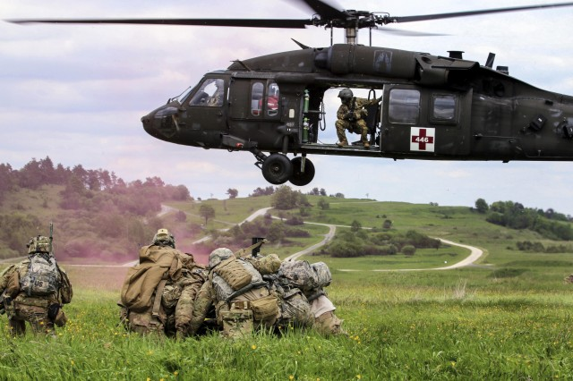 Soldiers conduct an air medical evacuation exercise during training in Grafenwoehr, Germany, May, 2017. The Future Long Range assault aircraft would enhance Air Assault and MEDEVAC capabilities.