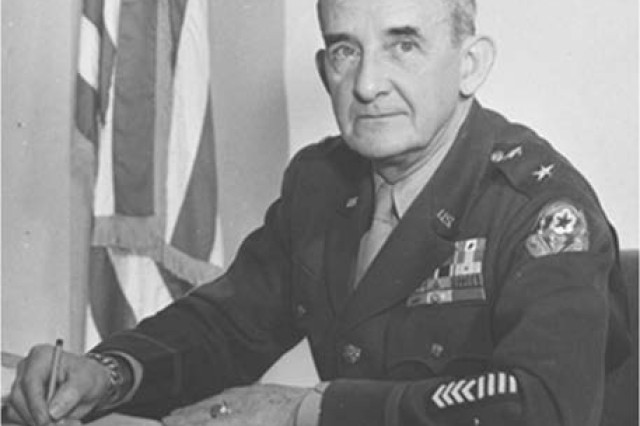The AMRL's first commander, Col. Albert Kenner, years later as a major general. He is wearing the European Theater of Operations‐Advanced Section shoulder‐sleeve insignia.