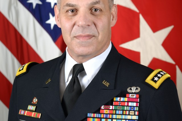 Gen.  Gustave F. Perna, Commanding General of U.S. Army Materiel Command, Redstone Arsenal, AL, poses for a command portrait in the Army portrait studio at the Pentagon in Arlington, VA, Sept. 20, 2016.  (U.S. Army photo by Monica King/Released)