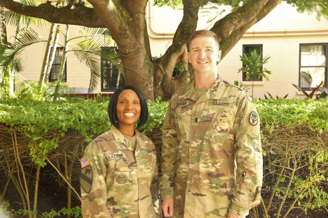 Maj. Darlene Lazard, deputy chief of the behavioral health program and 1st Lt. Cameron Ashdown, social worker, family advocacy program, lead key planning efforts during Suicide Awareness and Prevention Month in September. The Behavioral Health Department will host a Suicide Prevention Pledge on Sept. 6 and an open house on Sept. 26, 2019.