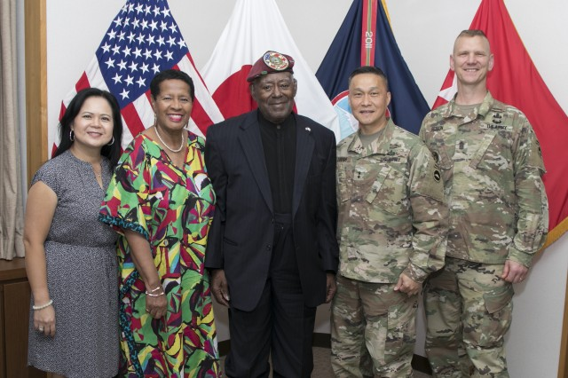 Retired 1st Lt. Luther Manus, center, and his wife, Connie, second from left, pose for a photo with U.S. Army Japan Commanding General Maj. Gen. Viet X. Luong, second from right; USARJ Command Sgt. Maj. Scott A. Beeson, right; and Luong's wife, Kim, after Manus' visit with the USARJ leadership Aug. 29 at Camp Zama, Japan.