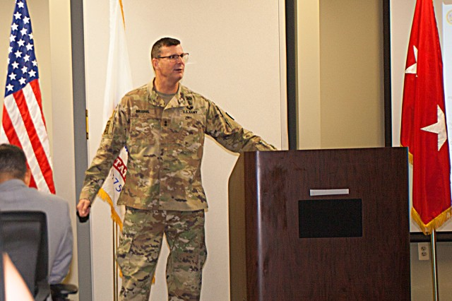 Maj. Gen. Jeffrey Drushal addresses the employees of the Security Assistance Management Directorate at the Detroit Arsenal on Aug. 29.