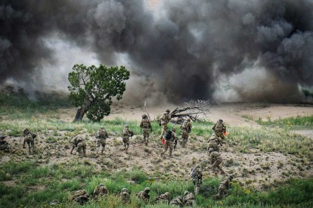 Soldiers conduct explosive breaching using Bangalores during a platoon live-fire exercise, Aug. 14, 2019, on Fort Carson, Colo. Soldiers are from 12th Infantry Regiment, 2nd Infantry Brigade Combat Team, 4th Infantry Division.