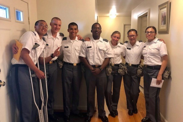 The U.S. Military Academy Class of 2023 Cadets visit the Ochoa family house during the Ice Cream Social in July.