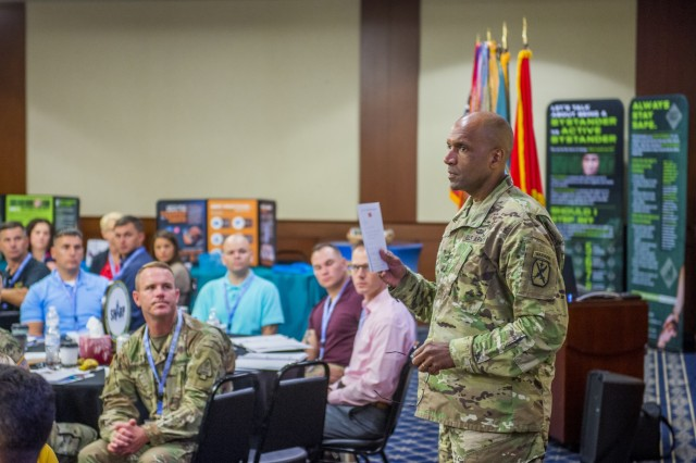 FORT BENNING, Ga. -- Maj. Gen. Gary M. Brito, commanding general of the Maneuver Center of Excellence and Fort Benning, talks to sexual assault response coordinators. A two-day gathering of experts on dealing with sexual assault and sexual harassment opened here Sept. 4 with the main focus on what can be done to prevent sexual assaults from happening in the first place. (U.S. Army photos by Patrick A. Albright, Fort Benning Maneuver Center of Excellence, Fort Benning Public Affairs)
