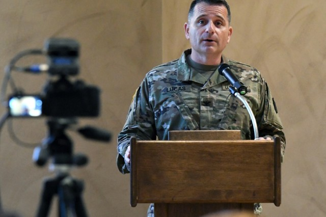 Col. Jeffery Lucas, Fort Drum garrison commander, addresses the audience during the housing town hall Sept. 4 at the Commons. (Photo by Mike Strasser, Fort Drum Garrison Public Affairs)