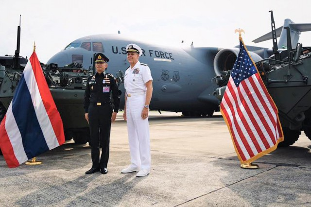 Royal Thai Army Commander-in-Chief General Apirat Kongsompong and U.S. Navy Admiral Phil Davidson, commander of the U.S. Indo-Pacific Command, greeted the C17 Globemaster aircraft delivering Stryker vehicles when it arrived Aug. 29, 2019 at Don Mueang Military Airport in Bangkok.