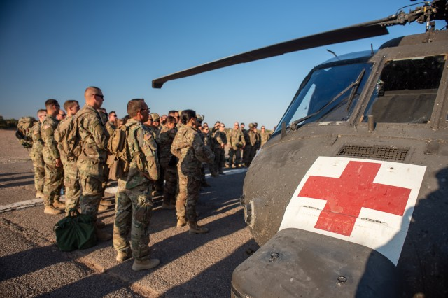 U.S. Army Combat Medic Soldiers in the 30th Armored Brigade Combat Team (ABCT), conduct cold and hot load training on a MEDEVAC UH-60 Black Hawk helicopter from 5th Armored Brigade, First Army Division West, near Fort Bliss, Texas, September 3, 2019. The Soldiers from the North Carolina, South Carolina, Ohio and West Virginia National Guard who comprise the 30th Armored Brigade Combat Team are preparing for their deployment to support Operation Spartan Shield in the Middle East.
