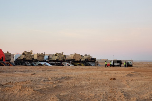 The 858th Movement Control Team oversees the loading of Task Force Spartan's equipment onto host nation trucks for transportation to their training destination during Eager Lion. Eager Lion 19 is a multilateral exercise hosted by the Hashemite Kingdom of Jordan, consisting of a total of 30 nations from around the world, designed to exchange military expertise and improve interoperability among partner nations. (Courtesy photo)