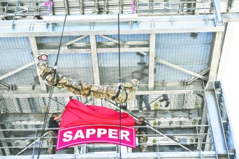 Leaders from the 1st Engineer Brigade, Fort Leonard Wood, officially opened the Sapper Leader Course's new rappel tower Aug. 28, and they did it as only Sappers would -- by being the first to rappel down the tower.