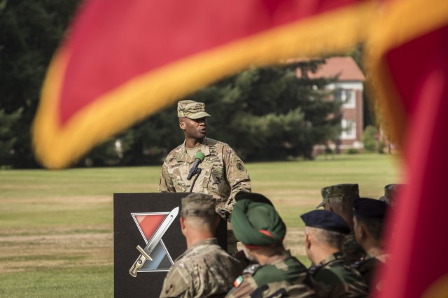 The 7th Infantry Division Commanding General, Maj. Gen. Xavier T. Brunson, discusses the Yudh Abhyas 19 exercise during the opening ceremony at Joint Base Lewis-McChord, Washington, Sept. 5, 2019.  The 15th annual iteration of this bilateral training is designed toward enhancing the maturing relationship between the partnered armies as they continue to build a shared understanding during the two-week long exercise. (U.S. Army photo by Sgt. Adeline Witherspoon)