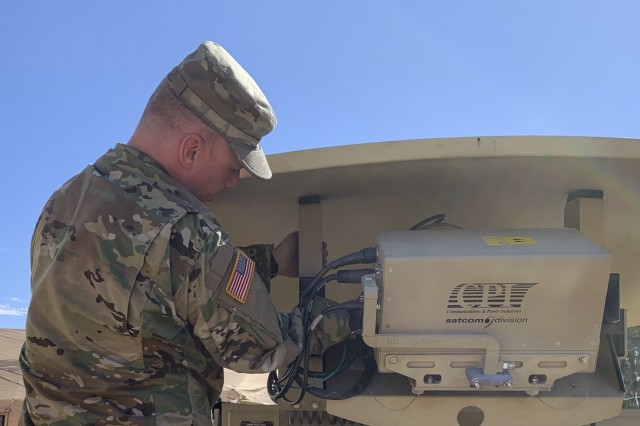 Spc. Robert Byers, Senior STT Operator, 738th Brigade Signal Company, Indiana Army National Guard, sets up a communication satellite during annual training at Camp Roberts, Ca. 2019.