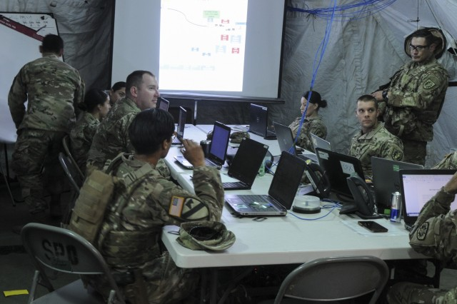 Soldiers with the 746th Combat Sustainment Support Battalion from the California National Guard conduct mission analysis during annual training at Camp Roberts, Ca. 2019.