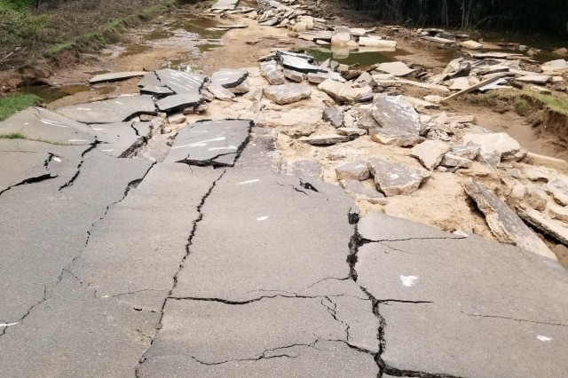 The entrance to Rising Star Park near Pine Bluff, Arkansas was severely damaged during the spring flood event of 2019. The roadway was completely washed out.