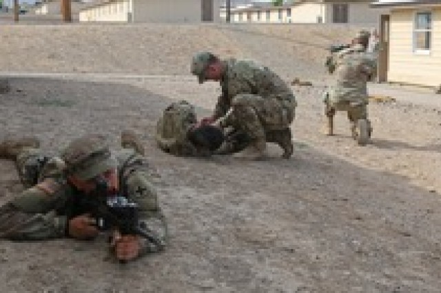 Soldiers of the 2nd Battalion, 130th Infantry Regiment, Illinois Army National Guard, participate in Combat Life Saver drills during Rising Thunder 19, September 3, 2019, at the Yakima Training Center in Yakima, Washington. Rising Thunder is an annual exercise joining the U.S. Army and the Japan Ground Self Defense Force (JGSDF) with U.S. Army units from the 7th Infantry Division and the Illinois Army National Guard's 33rd Infantry Brigade Combat Team and 108th Sustainment Brigade. The exercise includes unilateral and bilateral training events, culminating with a bilateral live-fire exercise.