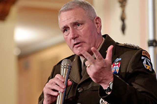 """General John Murray, Commander Army Futures Command, explains the lack of the Army's modernization over the past few decades and why it's important that we catch up with our """"near peer"""" nations to the Detroit Economic Club Sept. 5."""