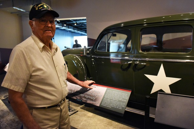 Howell Moore Sr., stands next to the Cadillac believed to have been ridden in by Gen. George Patton when he had his fatal accident in Germany after World War II. Moore was a driver for dignitaries after being shot and suffering hand grenade shrapnel during the Battle of the Bulge.