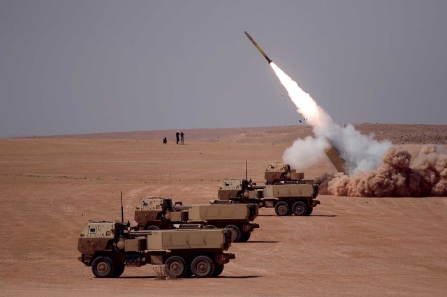 The M142 High Mobility Artillery Rocket System (HIMARS) is a full-spectrum, combat-proven, all-weather, 24/7, lethal and responsive, wheeled precision strike weapons system. HIMARS is a C-130 air transportable wheeled launcher mounted on a 5-ton Family of Medium Tactical Vehicles XM1140A1 truck chassis organic/assigned to Field Artillery Brigades. The current HIMARS includes an increased crew protection armored cab. HIMARS supports an expeditionary, lethal, survivable and tactically mobile force. It will launch all Multiple Launch Rocket System (MLRS) Family of Munitions rockets and missiles. The HIMARS carries one launch pod containing either six Guided MLRS (GMLRS)/MLRS rockets or one Army Tactical Missile System (ATACMS) missile. (U.S. Army photo)