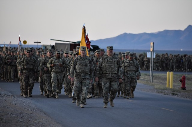 U.S. Soldiers in 1st Squadron, 150th Cavalry Regiment from the West Virginia National Guard, attached to the 30th Armored Brigade Combat Team, participate in a Suicide Prevention Awareness march while in the vicinity of Fort Bliss, Texas, September 7, 2019.  September is National Suicide Prevention Awareness month.