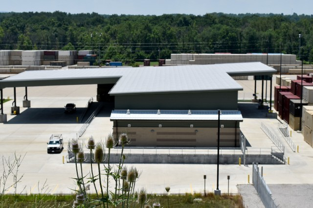 Blue Grass Army Depot's new consolidated shipping center located on the Depot's primary loading platform.