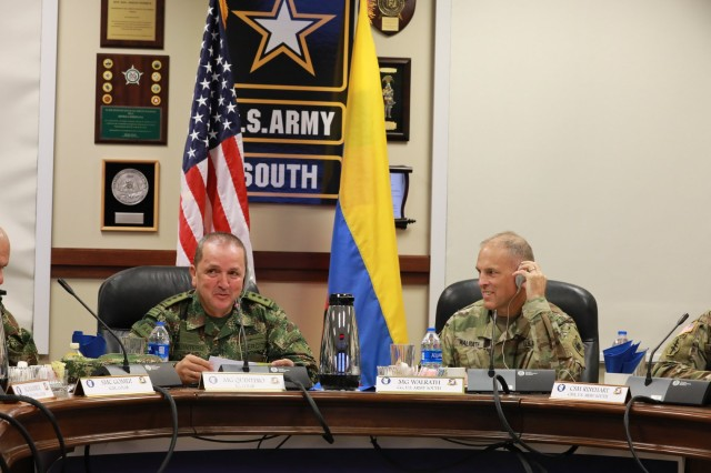 """The outcome of this meeting will strengthen the capabilities of our Armies,"" said Maj. Gen. Oscar Alberto Quintero Gonzales, Inspector General of the Colombian Army during the bilateral staff talks hosted by U.S. Army South at Fort Sam Houston from Sept. 5-6. ""On behalf of the delegation, we hope that this valuable opportunity will serve to strengthen the bonds of friendship in our institutions, exchange knowledge, and build new cooperation scenarios."""