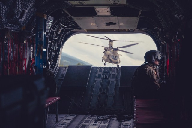 The group of aircraft are part of an aerial gunnery exercise conducted by the 2-1 General Aviation Support Battalion, and the 3-1 Assault Helicopter Battalion, both of which are part of the 1st Combat Aviation Brigade, 1st Infantry Division.
