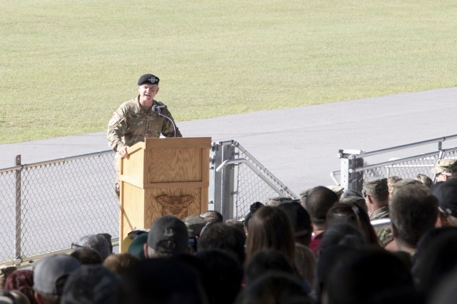 Gen. Paul E. Funk II, commander of the U.S. Army Training and Doctrine Command, gives a speech during the Basic Combat Training graduation ceremony for 2nd Battalion, 13th Infantry Regiment Aug. 29 at Hilton Field. Funk toured the installation to get a behind the scenes glimpse at what it takes to transform America's sons and daughters into the nation's most lethal fighting force.