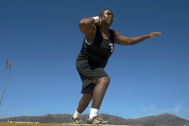 Retired Army Sgt. Monica Southall throws shot put during the Army Trials at Fort Bliss in El Paso, Texas, April 1, 2015. Athletes in the trials were competing for spots on Army's team in the upcoming 2015 Department of Defense Warrior Games to be held in June at Marine Corps Base Quantico  in Quantico, Va.  (DoD News photo by EJ Hersom)