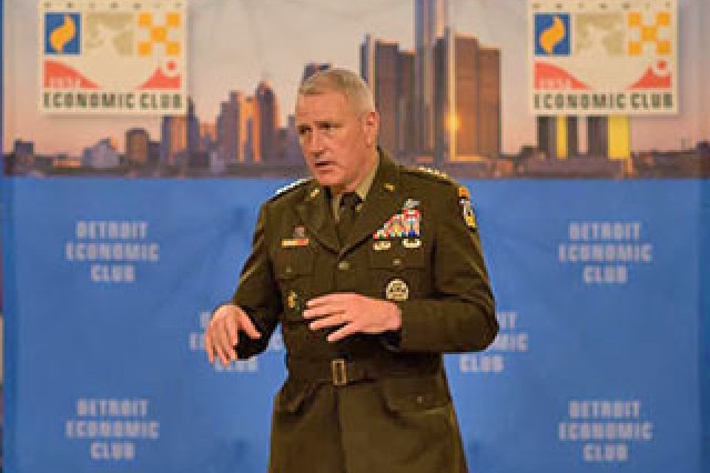 Gen. John Murray, Commander Army Futures Command, addresses a group of high school and college students at the Detroit Economic Club Sept. 5.