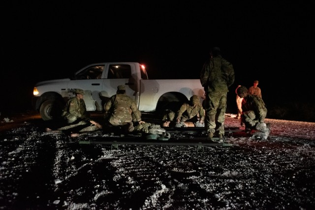 U.S. Army Combat Medic Soldiers in the 30th Armored Brigade Combat Team (ABCT),  participate in a Mass Casualty (MASCAL) training exercise with the 5th Armored Brigade, First Army Division West, near Fort Bliss, Texas, September 3, 2019. The Soldiers from the North Carolina, South Carolina, Ohio and West Virginia National Guard who comprise the 30th Armored Brigade Combat Team are preparing for their deployment to support Operation Spartan Shield in the Middle East.