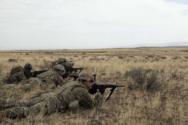 YAKIMA, Wash. - Soldiers lay in the ready positon during Rising Thunder 19. Rising Thunder 2019 is an annual exercise between the U.S. Army and the Japan Ground Self-Defense Force featuring units from the 7th Infantry Division, the Illinois Army National Guard's 33rd Infantry Brigade Combat Team and 108th Sustainment Brigade, and Japan's 25th Infantry Regiment. The exercise, held Aug. 28 - Sept. 13 at Yakima Training Center in Yakima, Washington, consists of company/platoon unilateral and bilateral training events in two phases, culminating with a bilateral live fire exercise. (U.S. Army Reserve photo by Sgt. Jeff Daniel)