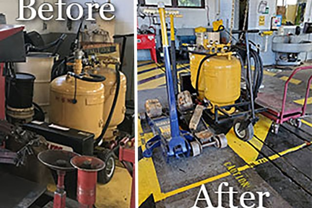 Fort Lee introduces the concept of 5S within the workplace.  The before picture shows how old equipment wasn't turned in and caused hazards to employees.  The after photo shows how some of the same equipment was re-organized into its own place, while equipment that was no longer needed was turned in.