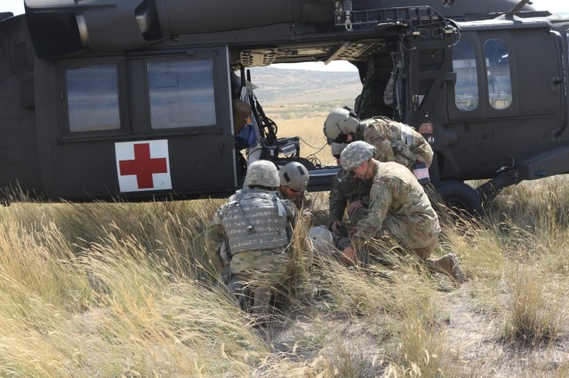 Soldiers from the 1844th Transportation Company, 108th Sustainment Brigade, and medics from the 33rd Infantry Brigade Combat Team, both part of the Illinois Army National Guard, load simulated casualties into a medical evacuation helicopter as part of their culminating event in Rising Thunder. Rising Thunder 2019 is an annual exercise joining the U.S. Army and the Japanese Ground Self-Defense Force (JGSDF) and is part of Pacific Pathways 19-3. Rising Thunder 2019 is also a United States Army Pacific-sponsored capstone event featuring U.S. Army units from the 7th Infantry Division and the Illinois Army National Guard's 33rd Infantry Brigade Combat Team and 108th Sustainment Brigade. (Illinois Army National Guard photo by Spc. Shaylin Quaid)
