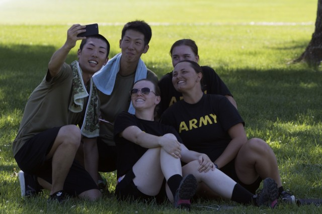 YAKIMA, Wash. - American and Japanese take a selfie on a recreational day during Rising Thunder 19. Rising Thunder 2019 is an annual exercise between the U.S. Army and the Japan Ground Self-Defense Force featuring units from the 7th Infantry Division, the Illinois Army National Guard's 33rd Infantry Brigade Combat Team and 108th Sustainment Brigade, and Japan's 25th Infantry Regiment. The exercise, held Aug. 28 - Sept. 13 at Yakima Training Center in Yakima, Washington, consists of company/platoon unilateral and bilateral training events in two phases, culminating with a bilateral live fire exercise. (U.S. Army Reserve photo by Sgt. Jeff Daniel)