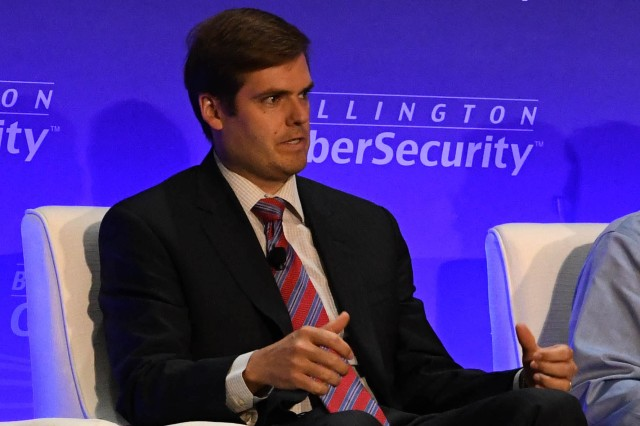 John W. Wilmer, the Defense Department's deputy chief information officer for cybersecurity and chief information security officer, speaks at the 10th annual Billington Cybersecurity Summit in Washington, Sept. 4, 2019.