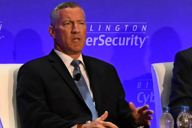 "Burke E. ""Ed"" Wilson, deputy assistant secretary of defense for Cyber Policy, speaks at the 10th annual Billington Cybersecurity Summit in Washington, Sept. 4, 2019."