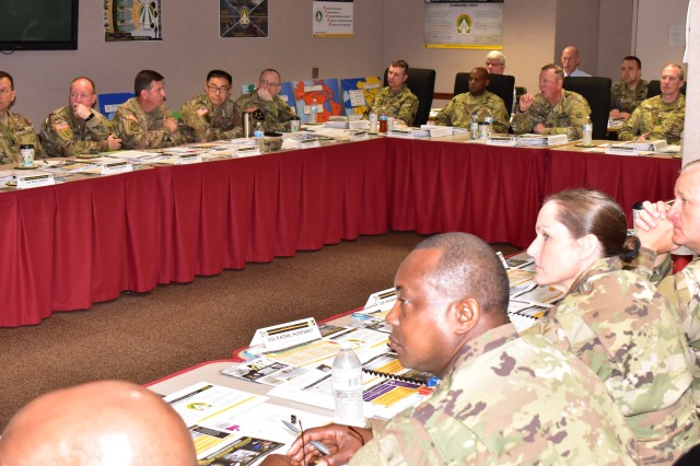 Maj. Gen. Stephen E. Farmen, Military Surface Deployment and Distribution Command commanding general, hosted the semi-annual SDDC Senior Leader Forum at the headquarters of his U.S. Army Reserve force, the Deployment Support Command, in Birmingham, Alabama, Aug. 23-25. Participants included commanders and senior enlisted leaders from SDDC's nine Total Force Transportation Brigades, staff directors from SDDC headquarters, and staff members from SDDC's Reserve force, the Deployment Support Command.