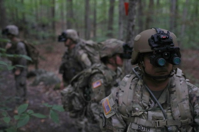 Sgt. 1st Class Will Roth puts the Enhanced Night Vision Goggle-Binocular to the test during a recent Soldier Touch Point in New Hampshire. Roth has been a technical advisor for the ENVG-B on the Soldier Lethality Cross-Functional Team for the past year.