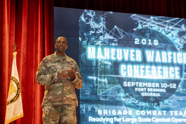 "FORT BENNING, Ga. - Maj. Gen. Gary M. Brito, commander Maneuver Center of Excellence and Fort Benning, delivers opening remarks on the first day of the Maneuver Warfighter Conference Sept. 10 here at McGinnis-Wickam Hall. The Maneuver Warfighter Conference is an annual event hosted by the Maneuver Center of Excellence and Fort Benning, Georgia, that gathers senior leaders and subject matter experts from across the Army, sister services and from partner nations' militaries to elaborate upon and discuss issues relevant to the Army's Maneuver Force. The theme of this year's conference is ""The Brigade Combat Team: Readying for Large Scale Combat."" (U.S. Army photo by Patrick A. Albright, Maneuver Center of Excellence, Fort Benning Public Affairs Office)"