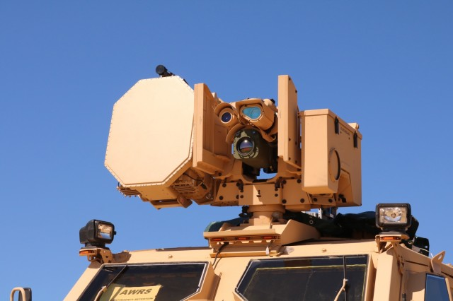 A close-up of the BLADE prototype mounted on a truck during an engineering test in June at Fort Dix, New Jersey. Along with the BLADE system, advanced radar technology helps determine the range, elevation, size and speed of incoming aircraft and projectiles. (Photo by Marian Popescu, CCDC Armaments Center BLADE team)