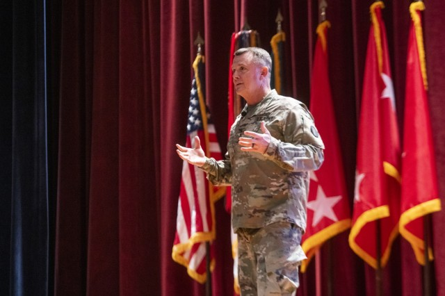 FORT BENNING, Ga. -- Gen. Paul E. Funk II, commanding general of the U.S. Army Training and Doctrine Command, outlines TRADOC's priorities during the opening day of the three-day 2019 Maneuver Warfighter Conference Sept. 10 here. The conference, hosted by the Maneuver Center of Excellence, runs through Sept. 12 and brings together military experts for discussion of key issues related to the nation's maneuver force. (U.S. Army photo by Patrick A. Albright, Maneuver Center of Excellence and Fort Benning Public Affairs)