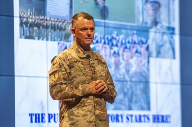 FORT BENNING, Ga. -- Gen. Paul E. Funk II, commanding general of the U.S. Army Training and Doctrine Command, outlines TRADOC's priorities during the opening day of the three-day 2019 Maneuver Warfighter Conference Sept. 10 here. The conference, hosted by the Maneuver Center of Excellence, runs through Sept. 12 and brings together military experts for discussion of key issues related to the nation's maneuver force. (U.S. Army photo by Patrick A. Albright/Markeith Horace, Maneuver Center of Excellence and Fort Benning Public Affairs)