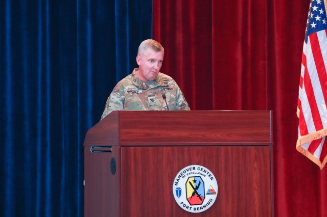 Col. Bill Venable, the Stryker Brigade Combat Team Project Manager, discusses the future of the Army's Stryker brigade combat teams during the opening day of the three-day 2019 Maneuver Warfighter Conference Sept. 10. The conference, hosted by Fort Benning's Maneuver Center of Excellence, runs through Sept. 12 and brings together military experts for discussion of key issues related to the nation's maneuver force. Stryker vehicles are eight-wheeled armored vehicles that are designed for a variety of roles in combat.