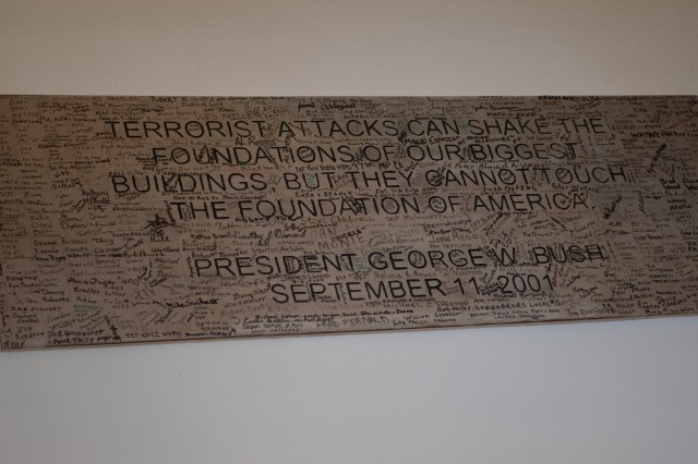 This plaque with a post-9/11 President George W. Bush quote is on display in the indoor Pentagon 9/11 Memorial.