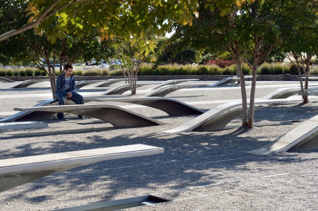 Philadelphia 76ers point guard Vasilije Micic reflects at a bench during a team tour of the National 9/11 Pentagon Memorial, Oct. 12, 2016.