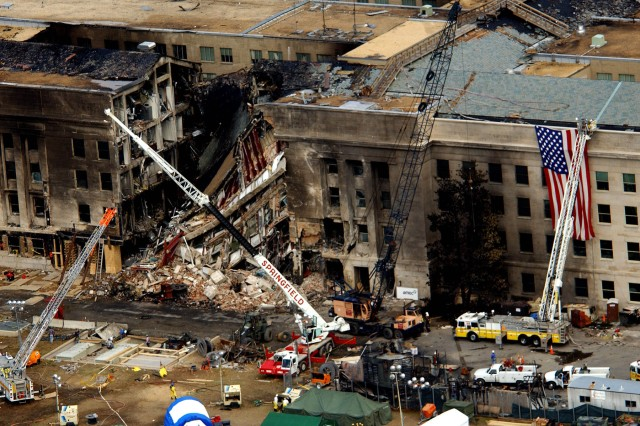 An Aerial view of the destruction at the Pentagon caused by a hijacked commercial jet that crashed into the side of the building during the Sept. 11, 2001, terror attacks