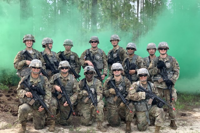 Pictured here, 1st Lt. Ryan Greer participates in a field training exercise with his BOLC class. Greer says his experience at BOLC was positive, as he was able to rely on his peers to help him overcome challenges.