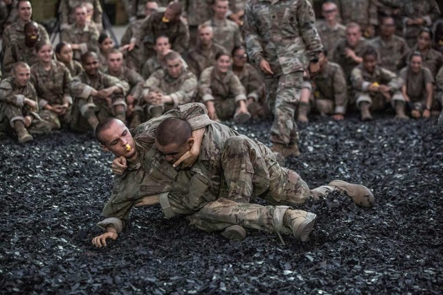 Trainees participate in combative training, one of the final events prior to the induction ceremony, Aug. 21, 2019 at Fort Jackson, S.C.