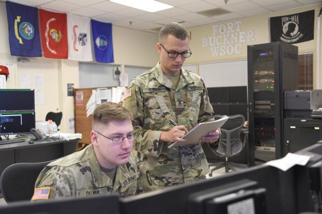 Soldiers from 53rd Signal Battalion inside the Wideband Satellite Communications Operations Center on Okinawa, Japan. In May, the Army Space and Missile Defense Command stood up Task Force Eagle to consolidate its SATCOM missions, including the signal battalion, ahead of U.S. Space Command's activation last month.